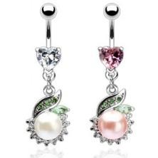 Luxusný piercing brucha perla so zeleným lístkom