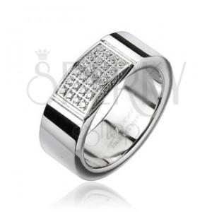 Oceľový prsteň - obdĺžnik vykladaný drobnými zirkónmi