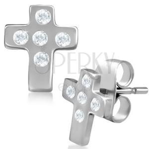 Náušnice z ocele - latinský kríž so zirkónmi, puzetky