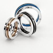 Prsteň z ocele - dvojfarebné oddelené prstence
