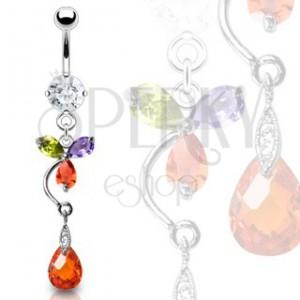 Luxusný piercing brucha farebný kvet a červená kvapka