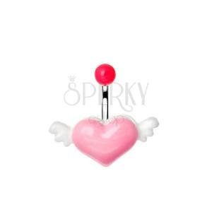Oceľový piercing do pupka s ružovo-bielym lietajúcim srdcom