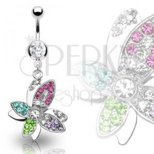 Luxusný piercing bruška krásny farebný kvet vyložený zirkónmi