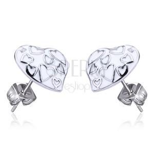 Oceľové náušnice - biele glazúrované srdcia, puzetky