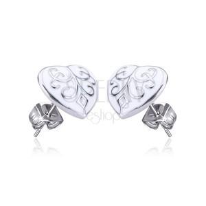 Oceľové náušnice - zdobené glazúrované srdce, puzetky