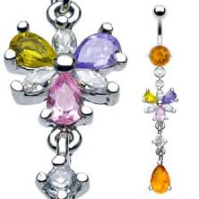 Luxusný piercing do brucha 6 lupienkov kvetu a visiaci medový zirkón