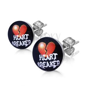 """Oceľové náušnice - rozpolené srdce, nápis """"HEART BREAKER"""""""