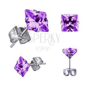 Náušnice z ocele - štvorcový fialový zirkón, puzetové zapínanie