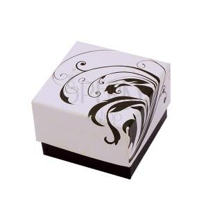 Krabička na prsteň - béžovo-hnedá s motívom ťahavých listov