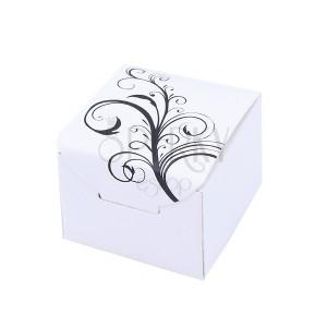 Biela papierová darčeková krabička s prírodným motívom