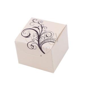 Béžová papierová krabička na šperk s prírodným motívom