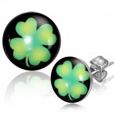 Šperky eshop - Puzetové náušnice z ocele - kruhy so zeleným štvorlístkom AA36.08