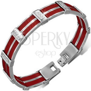 Oceľový náramok - červené gumové pásy, grécky motív, kríže