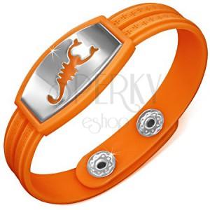 Náramok z gumy, hodinkový štýl, známka so škorpiónom