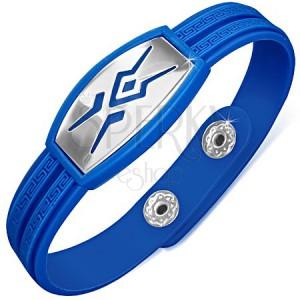 Gumený náramok modrej farby, známka s tribal vzorom