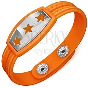 Náramok z gumy - oranžový s hviezdami a gréckym motívom