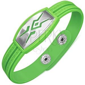 Gumený zelený náramok, tribal vzor na známke, grécky kľúč