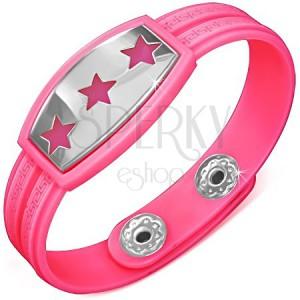 Gumený náramok neónovo ružový, grécky kľúč, hviezdy