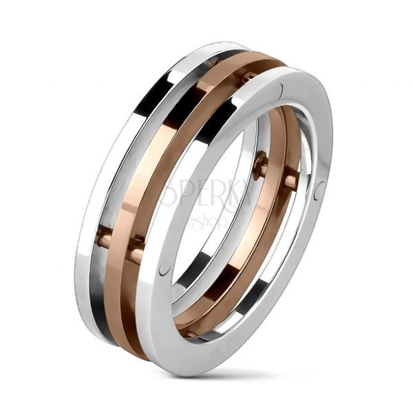Oceľový prsteň trojitý stredný pruh zlatej farby