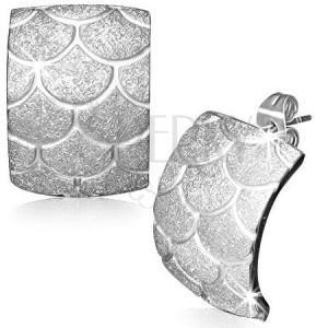 Oceľové náušnice - pieskované rybie šupiny