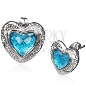 Puzetové náušnice z ocele - modré brúsené srdce v lesklom ráme