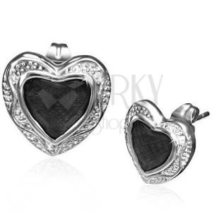 Oceľové náušnice - čierny kamienok v kovovom srdci