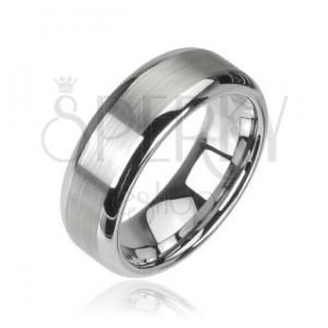 Wolfrámový prsteň, brúsený stredový pruh a lesklé okraje, 8 mm