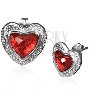 Lesklé náušnice z ocele - červené brúsené srdce v zdobenom ráme