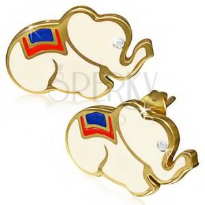 Oceľové náušnice - biely sloník so zirkónom, okraje zlatej farby