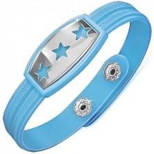 Modrý gumený náramok s hviezdami na oceľovej známke