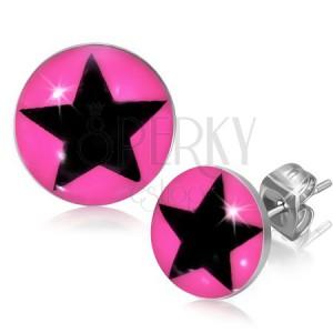 Puzetové náušnice z ocele s hviezdou v ružovom kruhu