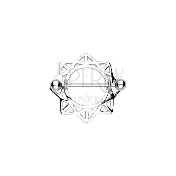 Piercing do bradavky slnko s trojuholníkovými výrezmi - 2 kusy