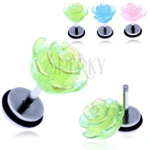 Fake piercing do ucha z ocele - farebná dúhová ruža