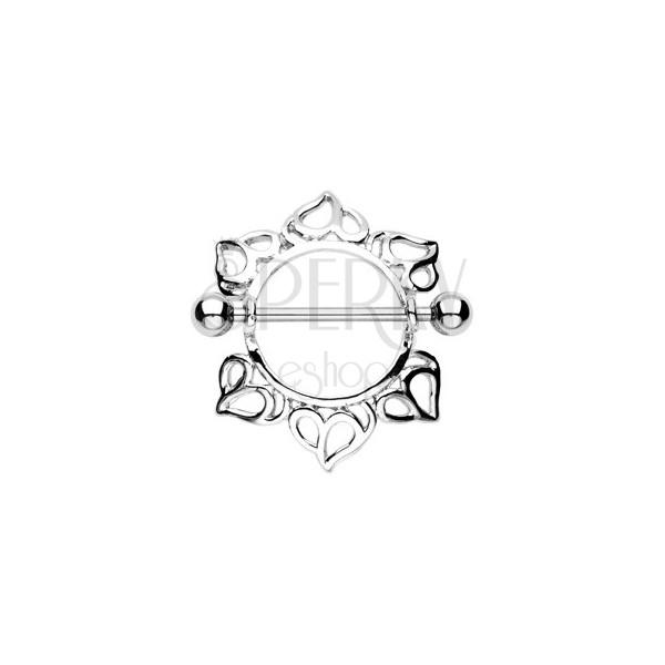 Piercing do bradavky - činka s guličkami, kvet s vyrezávanými lupienkami, 2 kusy