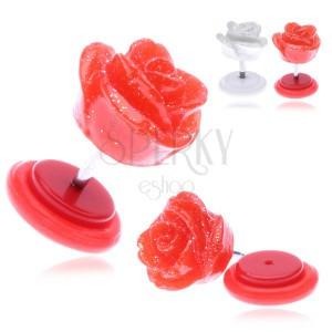 Falošný piercing do ucha z akrylu s trblietavou ružičkou
