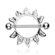 Piercing do bradavky z chirurgickej ocele - obrys slnka, 2 kusy