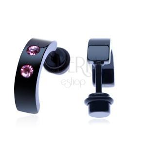 Fake plug z ocele - čierna prerušená obruč, dva ružové zirkóny