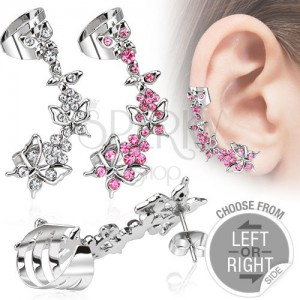 Falošný piercing do ucha z ocele - motýle a kvety so zirkónmi