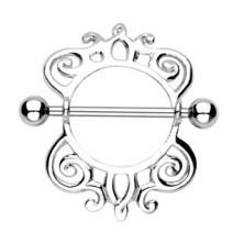 Piercing do bradavky vzor slimáčia špirálka - 2 kusy