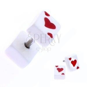 Fake plug z akrylu s hracou kartou - symbol srdce