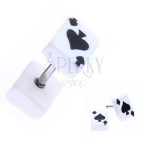 Fake plug z akrylu s hracou kartou - symbol piky
