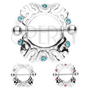 Piercing do bradavky ornamenty so zirkónom - 2 kusy