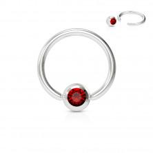 Piercing z chirurgickej ocele - krúžok s farebným kryštálikom v okrúhlej objímke