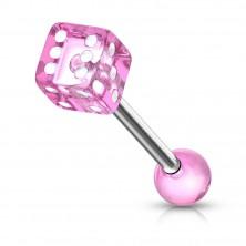 Piercing do jazyka z ocele - hracia kocka s bodkami bielej farby