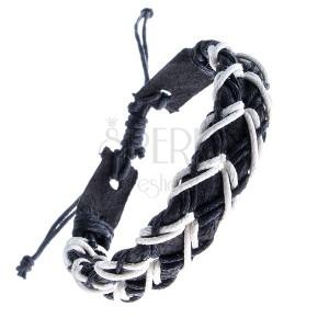 Čierny kožený náramok - dierkovaný pás, čierno-biele šnúrky do kríža