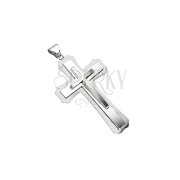 Prívesok z chirurgickej ocele - stupňovitý mohutný kríž