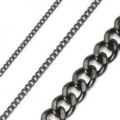 Šperky eshop - Retiazka z chirurgickej ocele reťaz brúsená lesklá v čiernej farbe A1.6/2/3/4/5 - Hrúbka: 10 mm, Dĺžka: 600 mm