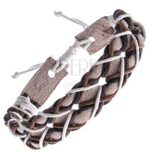 Béžový kožený náramok - štvorfarebné šnúrky do kríža