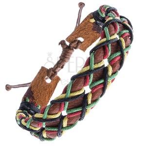 Kožený náramok - karamelovo hnedý pás a šnúrky do kríža