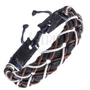 Čierny náramok z kože - šnúrky štyroch farieb do kríža